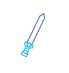 line video game sword medieval weapon protection vector image