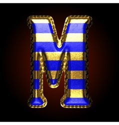 Golden and blue letter m vector