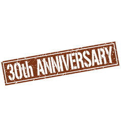30th anniversary square grunge stamp vector