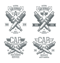 Car service spark plug emblems vector