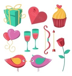 Saint Valentine Day objects set vector image