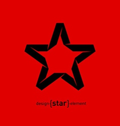 One color imitation of origami star from paper vector