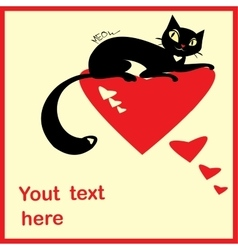 Background with black cats and hearts and place vector