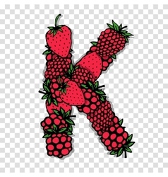 Letter K made from red berries sketch for your vector image