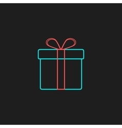 Colored outline gift box on black background vector