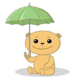 Teddy bear and umbrella vector