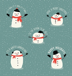 Cute snowman holiday greetings design elements vector