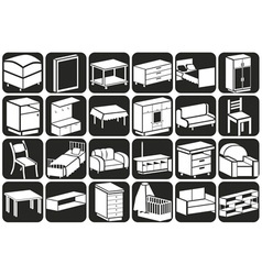 Furniture icons volume vector
