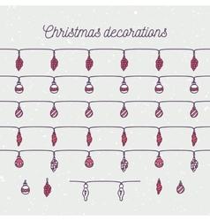 Hand drawn christmas balls seamless borders vector image