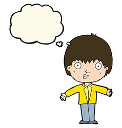 Cartoon amazed boy with thought bubble vector