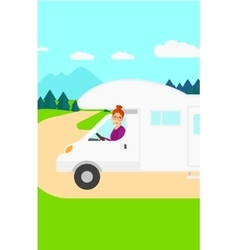 Woman driving motor home vector