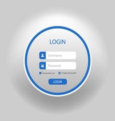 Login web blue round screen template vector
