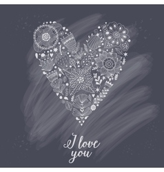 Doodle heart made of flowers vector