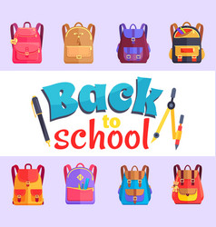 Back to my school cartoon style sticker with bags vector