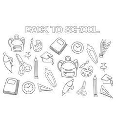 back to school set coloring book page template vector image vector image