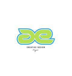 Blue green alphabet letter ae a e logo icon design vector