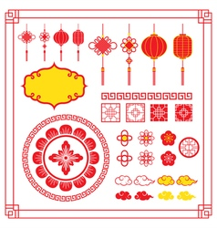 Chinese design elements ornaments decoration vector
