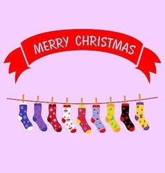 Christmas sock hanging vector