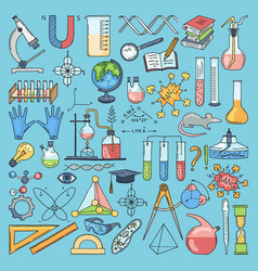 colored items of science biology and chemical vector image vector image