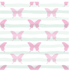 Cute seamless pattern with butterflies on stripped vector
