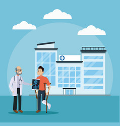 Doctor and patient at hospital vector