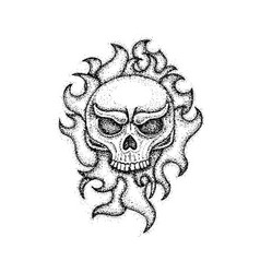 Dotwork human skull with fire vector