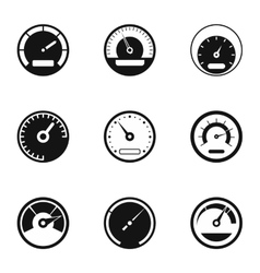Engine speedometer icons set simple style vector