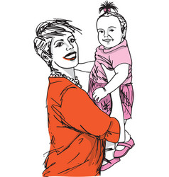 family mother and baby daughter vector image