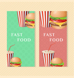 fast food banners with burger and soda cup vector image vector image