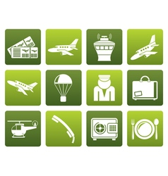 Flat airport and travel icons vector