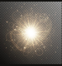 gold with hearts vector image