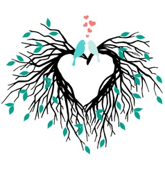Heart wedding tree with birds vector