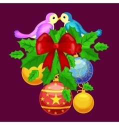holly berries wreath decoration design vector image
