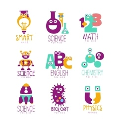 Kids science education extra curriculum club logo vector