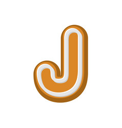 Letter j gingerbread peppermint honey-cake font vector