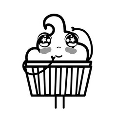 Line kawaii cute tender muffin dessert vector