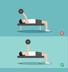 Man wrong and right barbell bent press posture vector