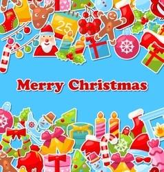 Merry Christmas Celebration Card with Traditional vector image