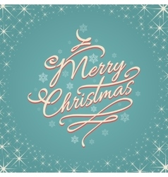 Merry christmas retro lettering with stars vector