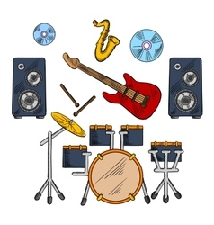 Musical band instruments sketched icons vector image
