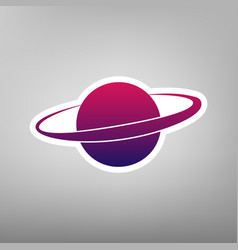 Planet in space sign purple gradient icon vector