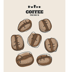 Set of hand drawn coffee beans for design vector image vector image