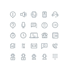 Support service line icons vector