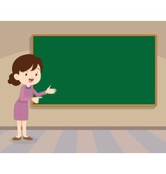 Teacher standing with chalkboard vector