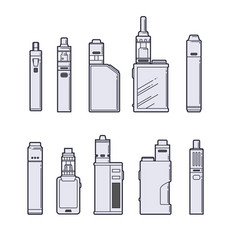 vaping set vape devices outline on white vector image