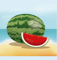 Watermelon fruit fresh harvest - beach background vector