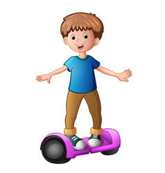 Young boy riding a electric scooter vector