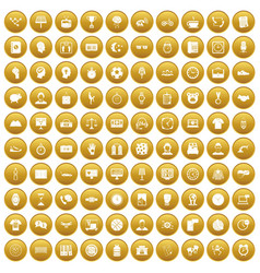 100 clock icons set gold vector