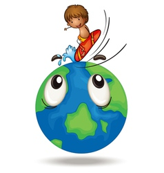 A boy surfing on earth globe vector
