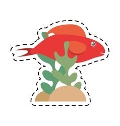 Red fish half aquatic environment coral vector